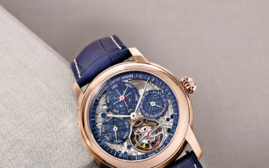 FREDERIQUE CONSTANT METEORITE TOURBILLON PERPETUAL CALENDAR MANUFACTURE Frederique Constant launches one unique edition of its successful Tourbillon Perpetual Calendar Manufacture watch in 18K rose gold featuring a blue tint Meteorite skeleton dial...