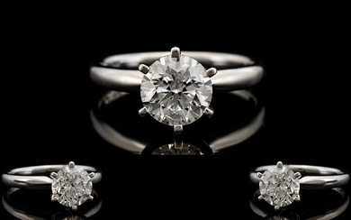 Ladies Superb 14ct White Gold Single Stone Diamond Ring, Con...