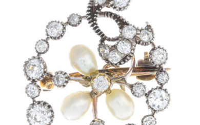 A late Victorian silver and gold, diamond and cultured pearl brooch.