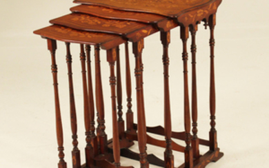 SET OF 4 DUTCH MARQUETRY INLAID NESTING TABLES
