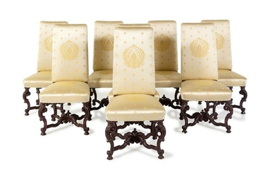 A Set of Eight Louis XIV Style Painted Dining Chairs
