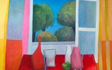 "'Still life with red tablecloth"", format W 115 x H 85 cm, oil on canvas, early 1980s"