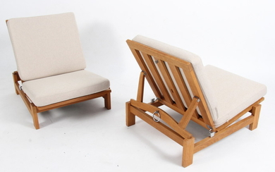 Hans J. Wegner. Pair of oak lounge chairs, GE-420 (2)