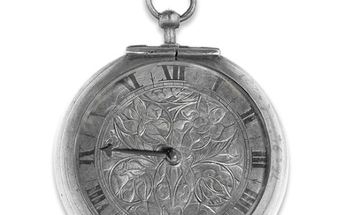 Thomas Daniel, London. A silver key wind pair case pocket watch with shagreen case