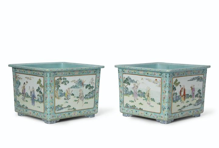 A RARE PAIR OF FAMILLE ROSE TURQUOISE-GROUND SQUARE JARDINIÈRES, SHENDETANG ZHI MARKS IN IRON-RED, DAOGUANG PERIOD (1821-1850)