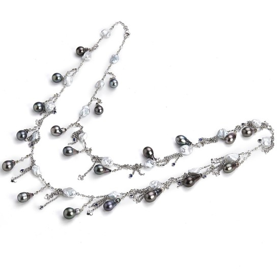 Hartmann's: A pearl and diamond necklace with cultured Tahiti and freshwater pearls, brilliant-cut diamonds and circular-cut sapphires, in 18k white gold.