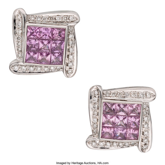 Pink Sapphire, Diamond, White Gold Earrings The earrings feature...