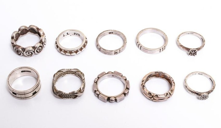 Sterling Silver Modern Rings Group of 10