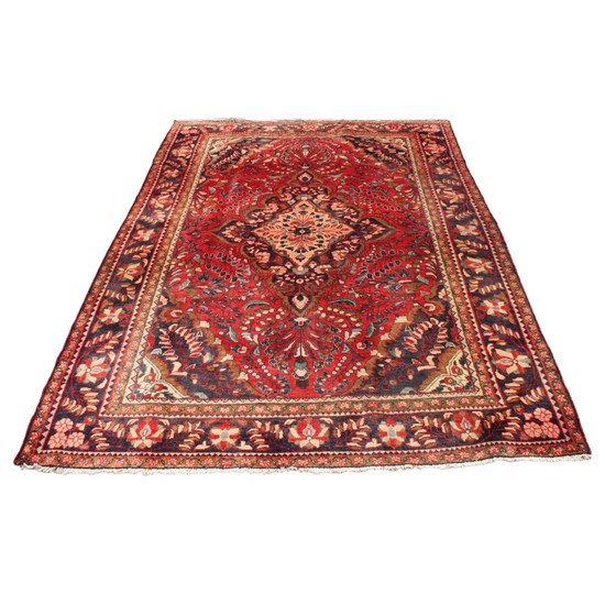 Lot Art Vintage Hand Knotted Persian Mohajeran Wool Area Rug