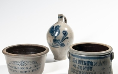 Two Pennsylvania Stoneware Advertising Crocks and a Cobalt-decorated Jug
