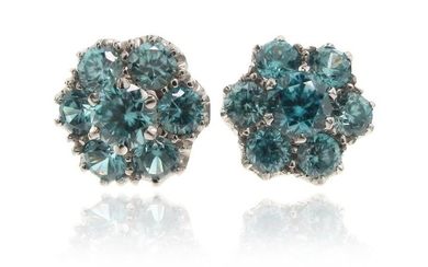 A pair of zircon cluster ear studs, set...