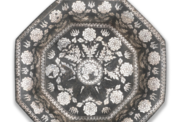 A rare and impressive silver-and brass-inlaid alloy bidri basin