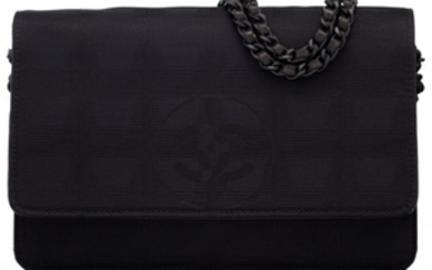 16050: Chanel Black Grosgrain Wallet on Chain with Blac