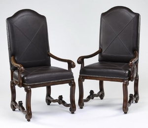 (2) French style mahogany and leather armchairs