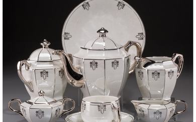A Twenty-Three Piece Assembled German Art Deco Lustreware Ceramic Tea Service (mid-20th century)