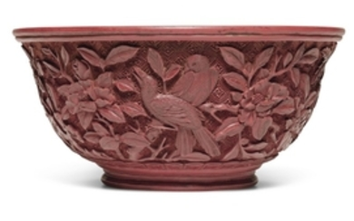 A CARVED CINNABAR LACQUER 'MAGPIE' MING-STYLE BOWL QING DYNASTY, QIANLONG PERIOD