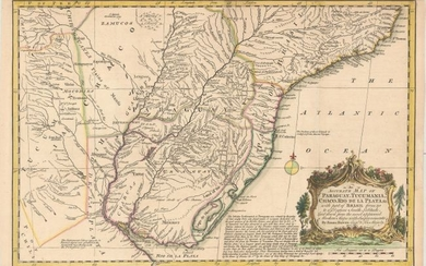 """""""An Accurate Map of Paraguay, Tucumania, Chaco, Rio de la Plata, &c. with Part of Brasil from 20 to 37 Degrees South Latitude..."""", Bowen, Emanuel"""
