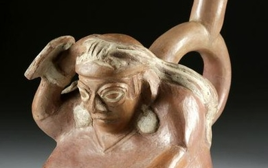 Fine Moche Seated Warrior Stirrup Vessel