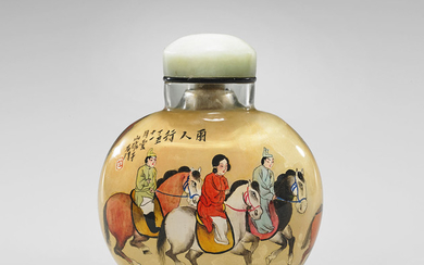 LARGE INSIDE-PAINTED GLASS SNUFF BOTTLE