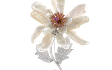 An 18ct gold diamond, pink sapphire and cultured pearl floral brooch.