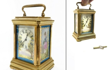 19th C. French Miniature Sevres Carriage Clock