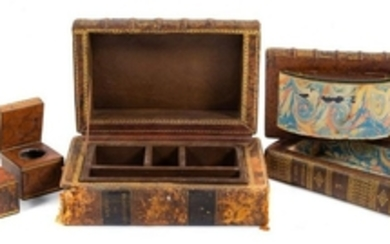 A Book Form Desk Set including 2 inkwells and