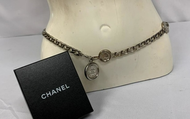CHANEL SILVER CC COIN CHAIN BELT CONVERTS NECKLACE