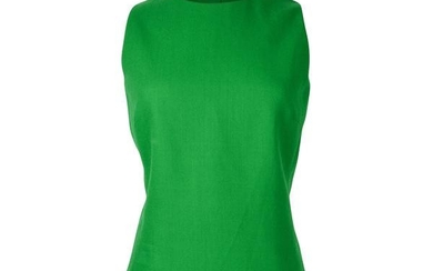 Christian Dior Top Emerald Green Sleeveless Shaped and