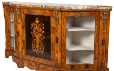 French Style Marble Top Marquetry Credenza