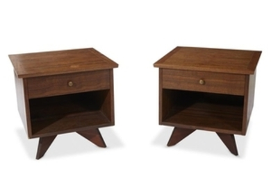 A pair of George Nakashima nightstands Widdicomb, circa 1950s...