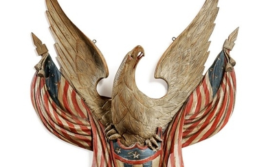 IMPORTANT CARVED AND POLYCHROME PAINT-DECORATED SPREAD-WINGED AMERICAN EAGLE WITH DRAPED FLAGS AND SHIELD, JOHN HALEY BELLAMY (1836-1914), KITTERY POINT, MAINE, CIRCA 1900