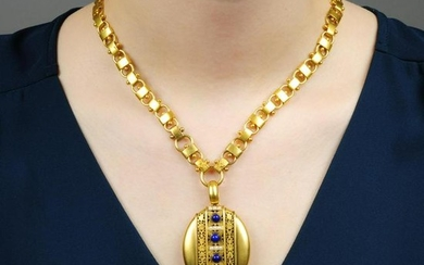 A late Victorian gold, lapis lazuli and split pearl