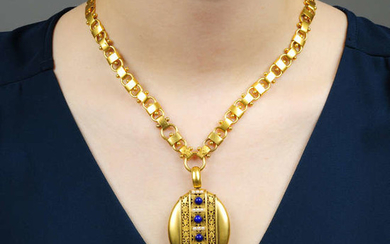 A late Victorian gold, lapis lazuli and split pearl floral locket, with 15ct gold necklace.