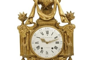 A Louis XVI gilt bronze cartel clock, Ch Baltazar