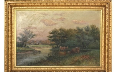 Oil On Canvas Pastoral Scene With Cows