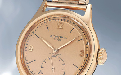 Patek Philippe, Ref. 565 A highly rare and attractive pink gold wristwatch with pink dial and bracelet