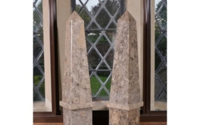 A pair of polished fossil marble obelisks