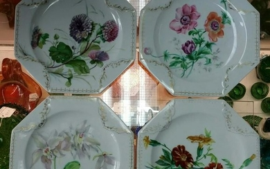 Set of 4 1879 English Brownfield Porcelain Hand Painted