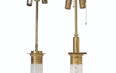TWO PAIRS OF ORMOLU-MOUNTED ROCK CRYSTAL LAMPS, 20TH CENTURY