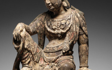 A very rare carved wood figure of Guanyin