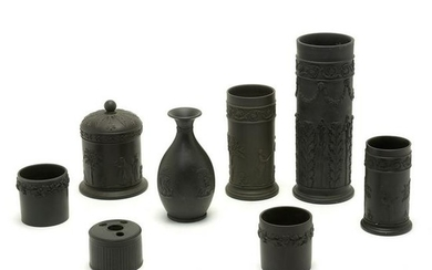 Wedgwood Pottery Basalt Table Articles, Lot of Eight.