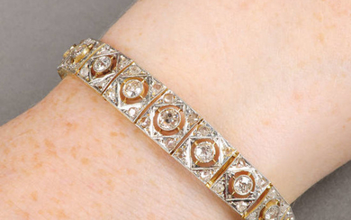 An early 20th century old and rose-cut diamond panel bracelet.