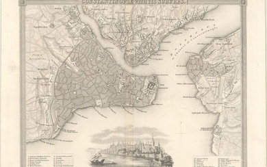 """NO RESERVE, """"[Lot of 2] Constantinople with Its Suburbs [and] Constantinople; with the Thracian Bosphorus"""""""