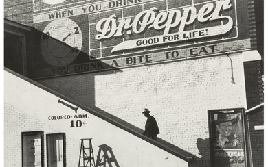 Marion Post Wolcott (1910-1990), Negro Man Entering Movie Theater by Outside Stairway (Colored Entrance), Belzoni, Mississippi (1939)
