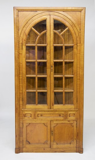 American Hand Crafted Tiger Maple Corner Cabinet