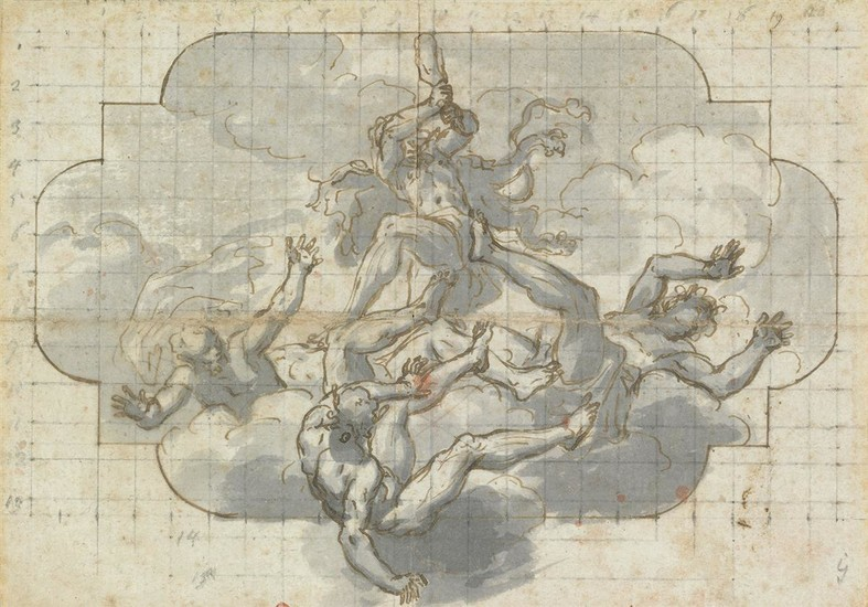 NORTH ITALIAN SCHOOL, LATE 17TH/ EARLY 18TH CENTURY Study for a Ceiling Design with an Allegory of Hercules.