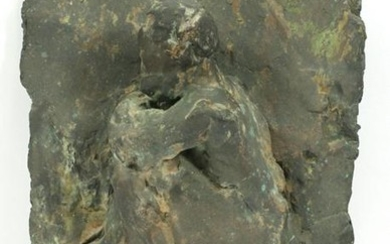 "BRONZE PLAQUE OF A SEATED MAN, H 18"", W 12"""