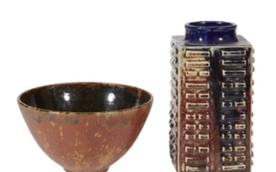 Asian cong-form studio pottery vase mid-late 20th century Together...