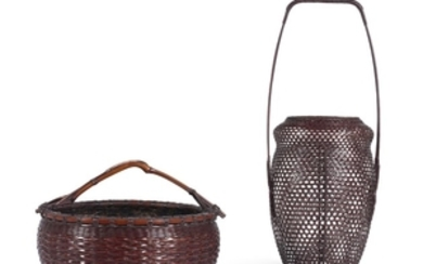 TWO BAMBOO AND RATTAN BASKETS 20TH CENTURY