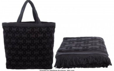 16051: Chanel Set of Two: Black Terry Cloth Beach Tote